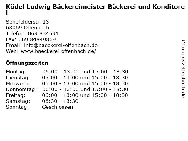 Ködel Ludwig Bäckereimeister Bäckerei und Konditorei in Offenbach: Adresse und Öffnungszeiten