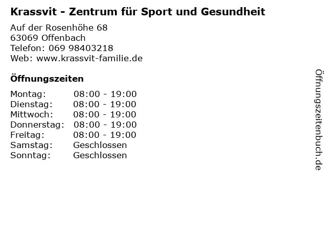Krassvit - Zentrum für Sport und Gesundheit in Offenbach: Adresse und Öffnungszeiten