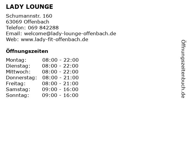 LADY LOUNGE in Offenbach: Adresse und Öffnungszeiten
