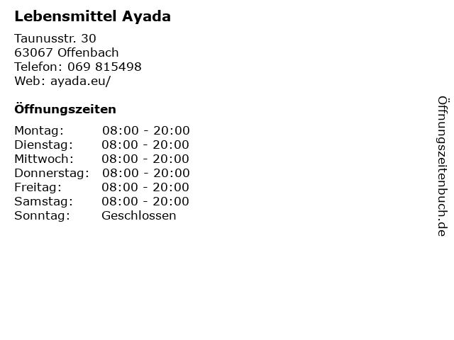 Lebensmittel Ayada in Offenbach: Adresse und Öffnungszeiten