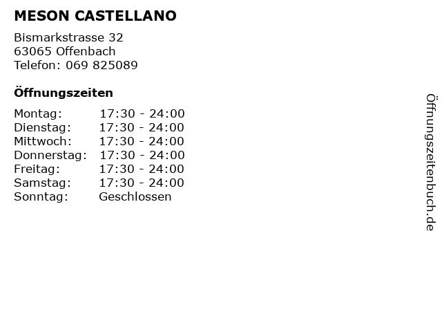 MESON CASTELLANO in Offenbach: Adresse und Öffnungszeiten