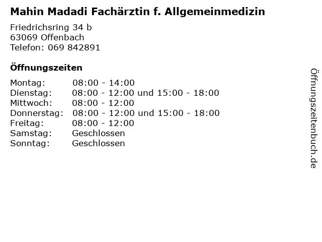 Mahin Madadi Fachärztin f. Allgemeinmedizin in Offenbach: Adresse und Öffnungszeiten
