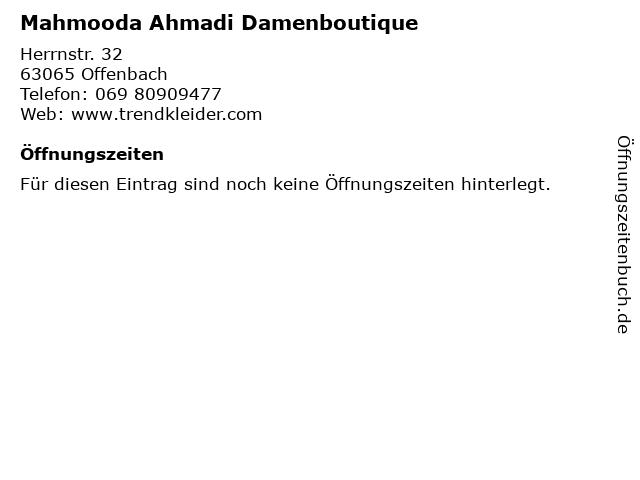Mahmooda Ahmadi Damenboutique in Offenbach: Adresse und Öffnungszeiten