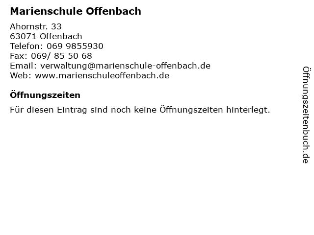 Marienschule Offenbach in Offenbach: Adresse und Öffnungszeiten