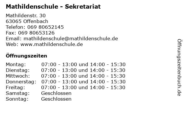 Mathildenschule - Sekretariat in Offenbach: Adresse und Öffnungszeiten