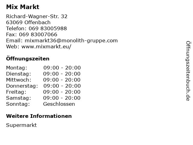 Mix Markt in Offenbach: Adresse und Öffnungszeiten