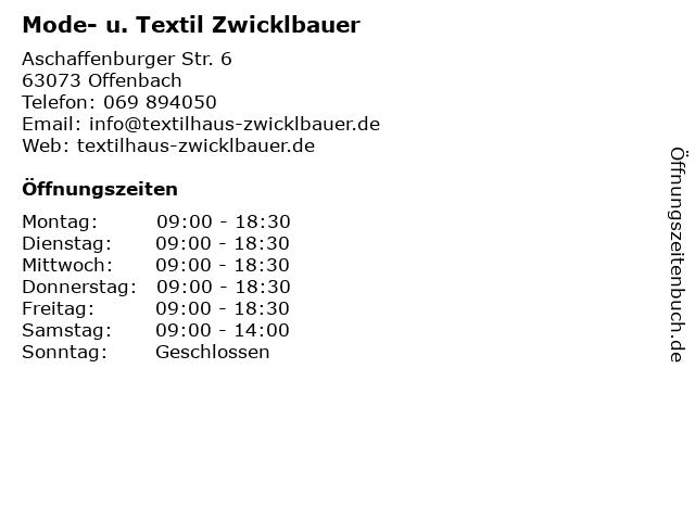 Mode- u. Textil Zwicklbauer in Offenbach: Adresse und Öffnungszeiten