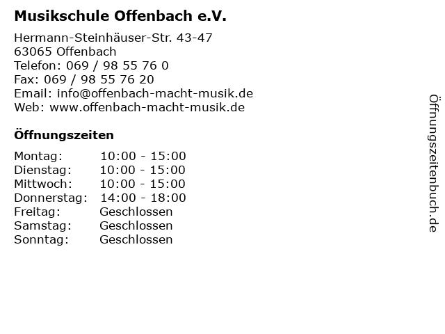 Musikschule Offenbach e.V. in Offenbach: Adresse und Öffnungszeiten