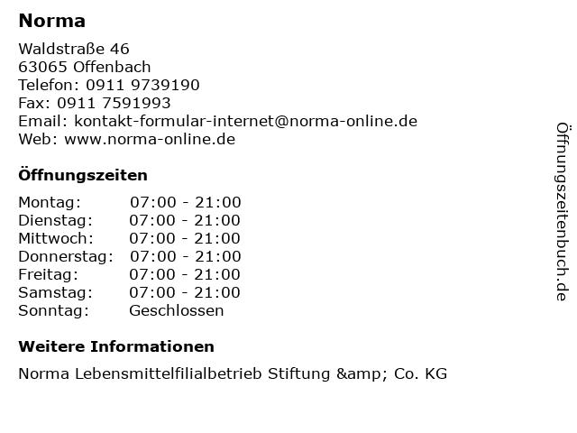 Norma in Offenbach: Adresse und Öffnungszeiten