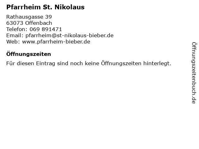 Pfarrheim St. Nikolaus in Offenbach: Adresse und Öffnungszeiten