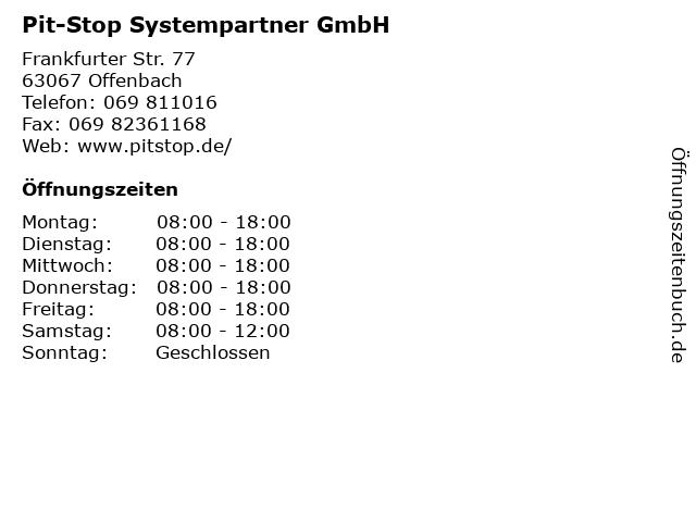 Pit-Stop Systempartner GmbH in Offenbach: Adresse und Öffnungszeiten