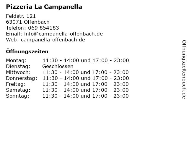 Pizzeria La Campanella in Offenbach: Adresse und Öffnungszeiten
