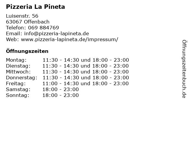 Pizzeria La Pineta in Offenbach: Adresse und Öffnungszeiten