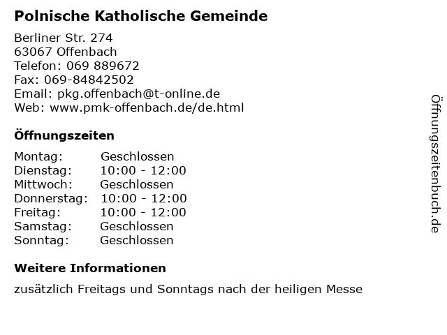 Polnische Katholische Gemeinde in Offenbach: Adresse und Öffnungszeiten