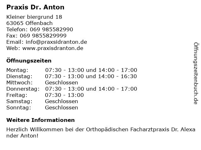Praxis Dr. Anton in Offenbach: Adresse und Öffnungszeiten
