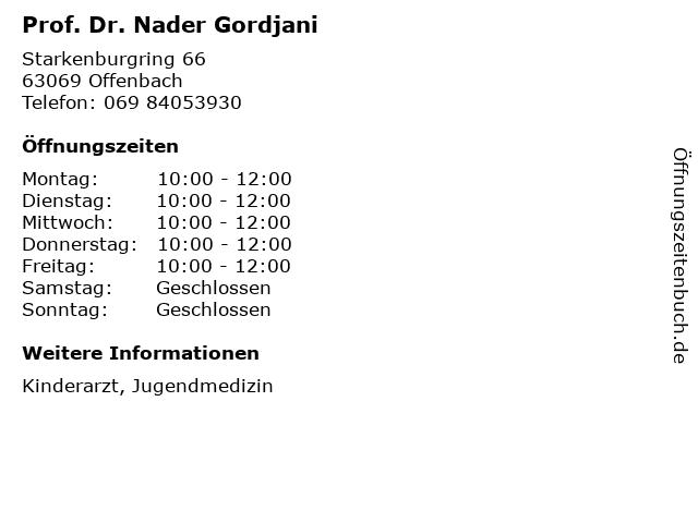 Prof. Dr. Nader Gordjani in Offenbach: Adresse und Öffnungszeiten