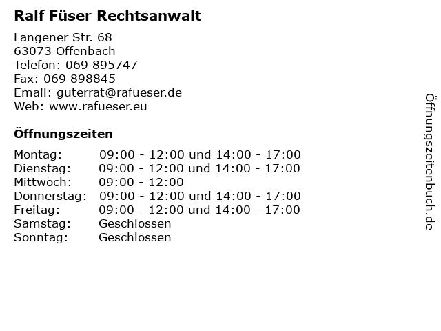 Ralf Füser Rechtsanwalt in Offenbach: Adresse und Öffnungszeiten