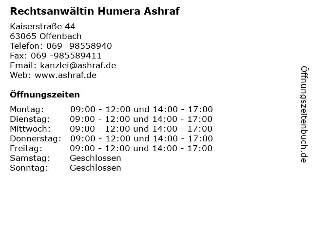 Rechtsanwältin Humera Ashraf in Offenbach: Adresse und Öffnungszeiten