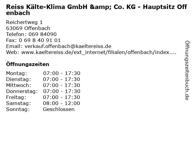 Reiss Kälte-Klima GmbH & Co. KG - Hauptsitz Offenbach in Offenbach: Adresse und Öffnungszeiten