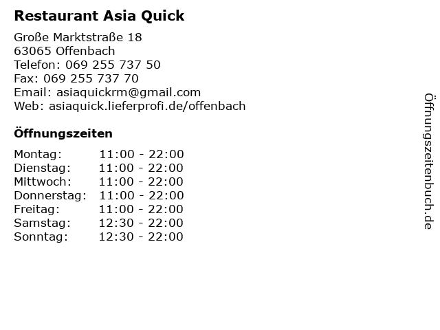 Restaurant Asia Quick in Offenbach: Adresse und Öffnungszeiten