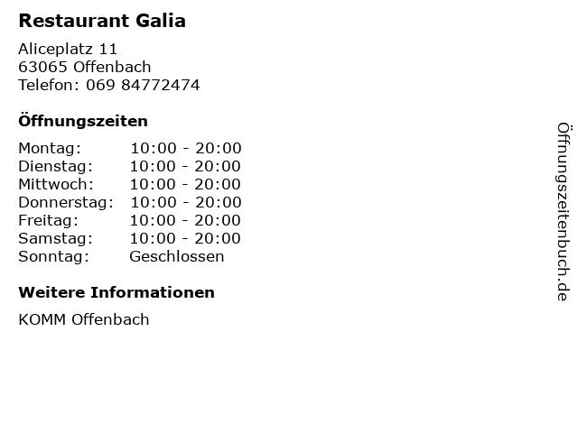 Restaurant Galia in Offenbach: Adresse und Öffnungszeiten