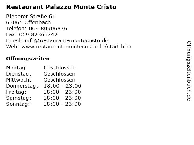 Restaurant Palazzo Monte Cristo in Offenbach: Adresse und Öffnungszeiten