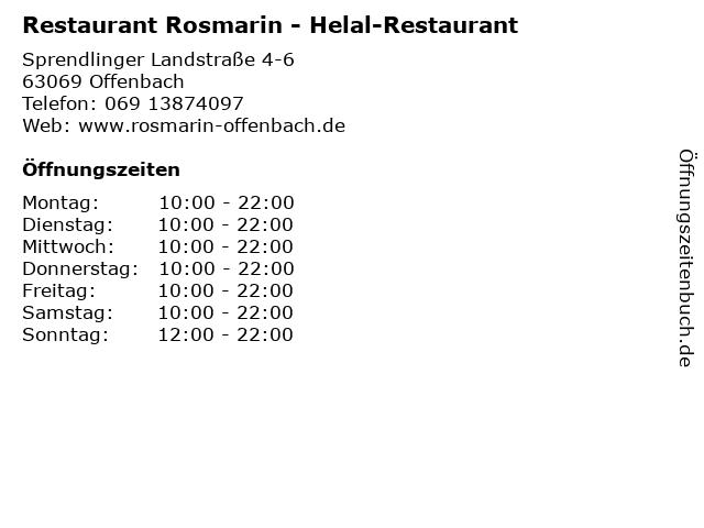 Restaurant Rosmarin - Helal-Restaurant in Offenbach: Adresse und Öffnungszeiten