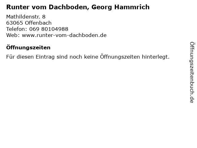 Runter vom Dachboden, Georg Hammrich in Offenbach: Adresse und Öffnungszeiten