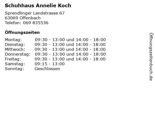Schuhhaus Annelie Koch in Offenbach: Adresse und Öffnungszeiten