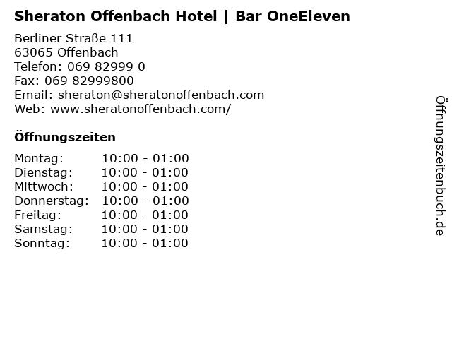 Sheraton Offenbach Hotel   Bar OneEleven in Offenbach: Adresse und Öffnungszeiten