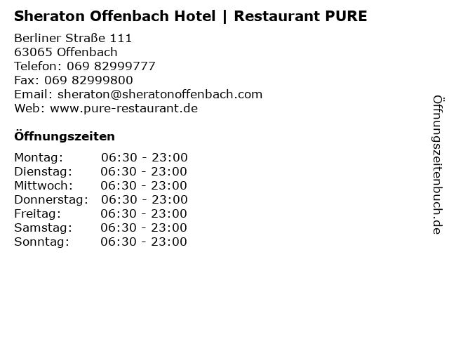 Sheraton Offenbach Hotel | Restaurant PURE in Offenbach: Adresse und Öffnungszeiten