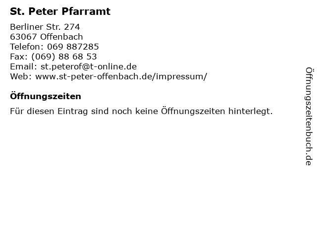 St. Peter Pfarramt in Offenbach: Adresse und Öffnungszeiten
