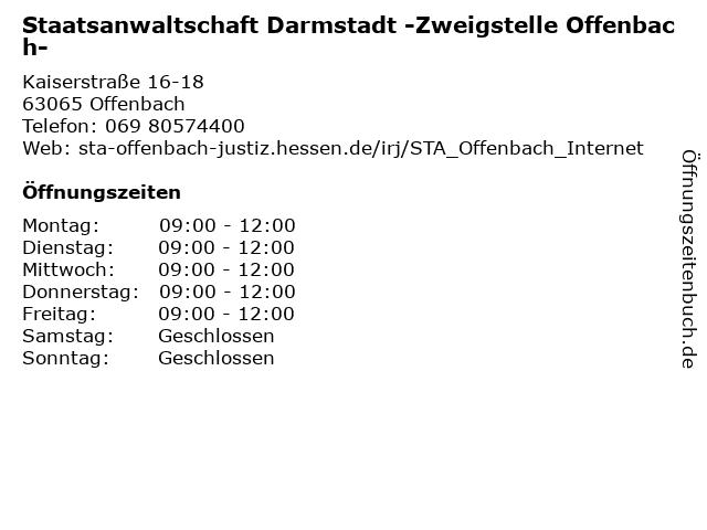 Staatsanwaltschaft Darmstadt -Zweigstelle Offenbach- in Offenbach: Adresse und Öffnungszeiten