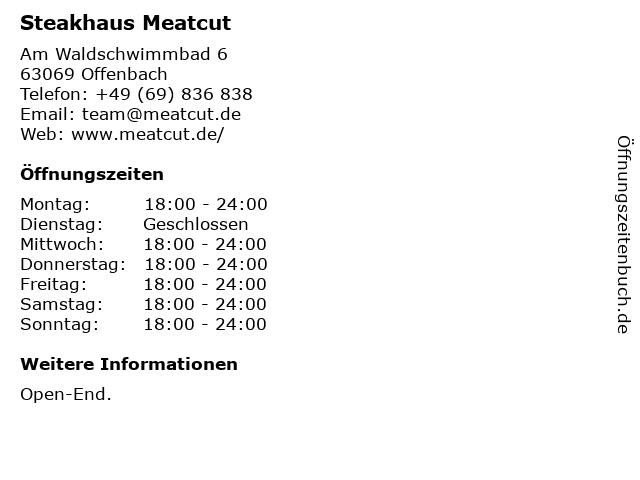Steakhaus Meatcut in Offenbach: Adresse und Öffnungszeiten