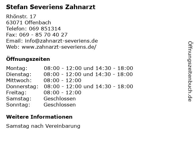 Stefan Severiens Zahnarzt in Offenbach: Adresse und Öffnungszeiten
