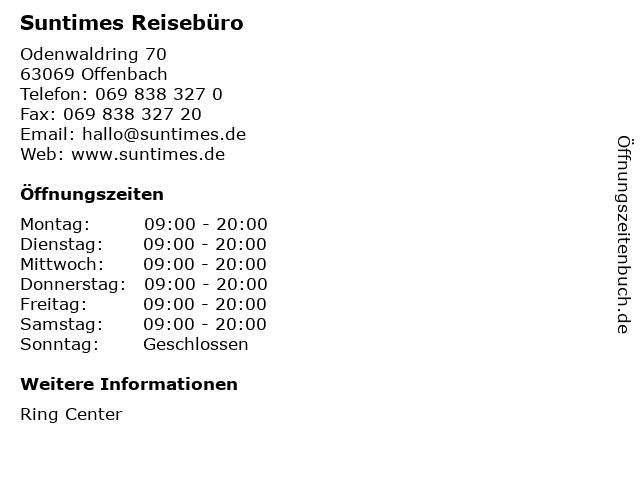 Suntimes Reisebüro in Offenbach: Adresse und Öffnungszeiten