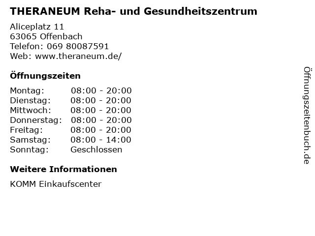 THERANEUM Reha- und Gesundheitszentrum in Offenbach: Adresse und Öffnungszeiten