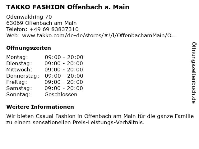 Takko Fashion in Offenbach: Adresse und Öffnungszeiten