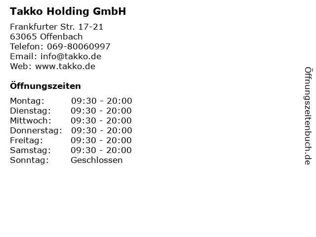 Takko Holding GmbH in Offenbach: Adresse und Öffnungszeiten
