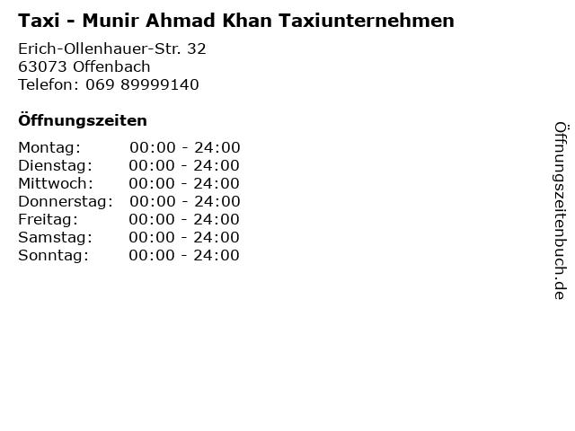 Taxi - Munir Ahmad Khan Taxiunternehmen in Offenbach: Adresse und Öffnungszeiten