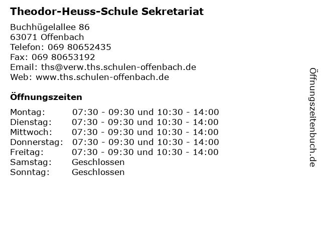 Theodor-Heuss-Schule Sekretariat in Offenbach: Adresse und Öffnungszeiten