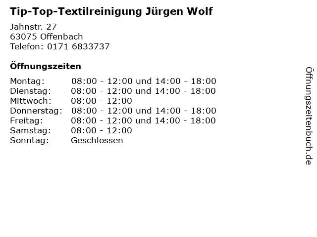 Tip-Top-Textilreinigung Jürgen Wolf in Offenbach: Adresse und Öffnungszeiten