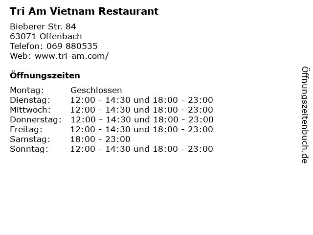 Tri Am Vietnam Restaurant in Offenbach: Adresse und Öffnungszeiten