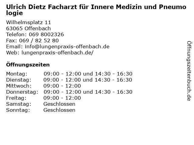 Ulrich Dietz Facharzt für Innere Medizin und Pneumologie in Offenbach: Adresse und Öffnungszeiten