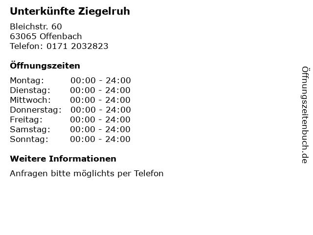Unterkünfte Ziegelruh in Offenbach: Adresse und Öffnungszeiten