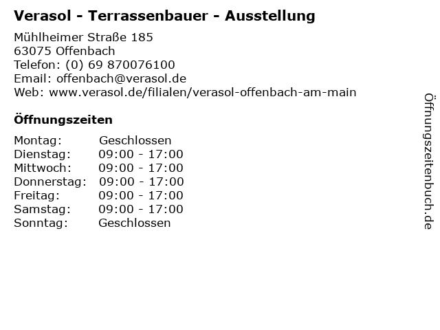 Verasol - Terrassenbauer - Ausstellung in Offenbach: Adresse und Öffnungszeiten