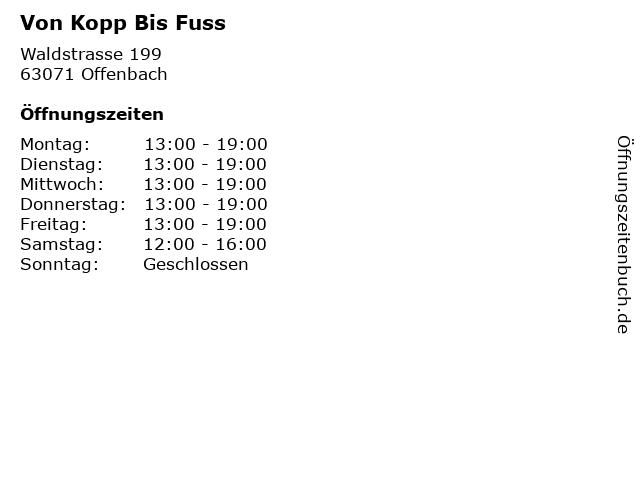 Von Kopp Bis Fuss in Offenbach: Adresse und Öffnungszeiten