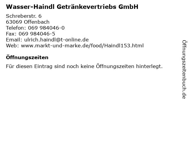 Wasser-Haindl Getränkevertriebs GmbH in Offenbach: Adresse und Öffnungszeiten