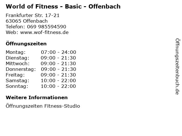 World of Fitness - Basic - Offenbach in Offenbach: Adresse und Öffnungszeiten