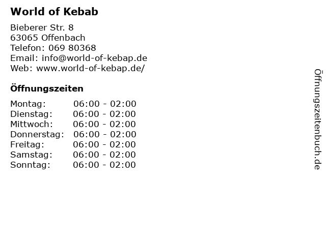 World of Kebab in Offenbach: Adresse und Öffnungszeiten